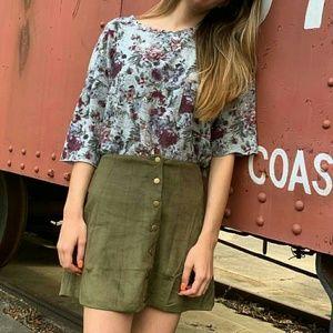 Altar'd State Skirt Velour Snap Button Front Short